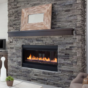 Gas fireplace in home.
